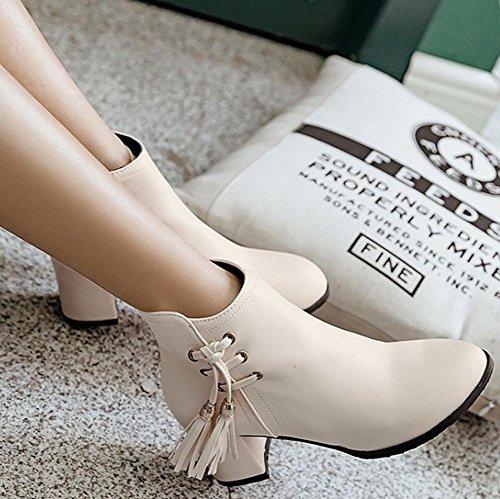 Seitenreißverschluss Kurze Beige Mid Eleganter Heeled Booties Knöchelhohe Chunky Easemax runder Damen Zeh Wf4ScHIn