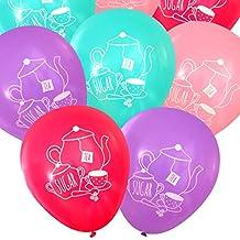 Tea Party Latex Balloons (16 pcs) by Nerdy Words (Pinks, Purple & Aqua)