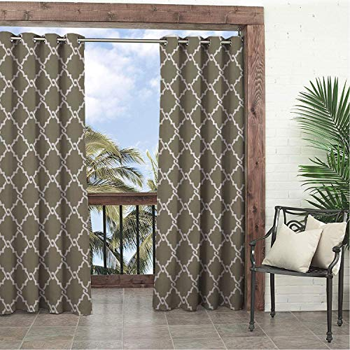 Linhomedecor Garden Waterproof Curtains Geometric White Brown Mesh Prismatic Porch Grommets Backdrop Curtains 108 by 108 inch