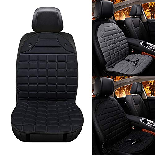 MOPHOTO Universal 12V Car Seat Back Chair Pad Heated Cushion, 3 Modes for Car, Home, Office Chair, Black-Single Cover