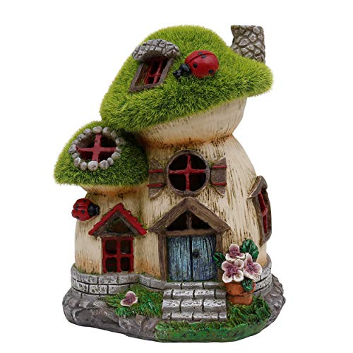 TERESA'S COLLECTIONS Flocked Big and Mini Mushroom House Fairy Garden Statue, Outdoor Resin Statues with Solar Lights, Garden Cottage Figurines for Outdoor Home Yard Decor (8 Inch Tall) (Figurines Mushroom Garden)