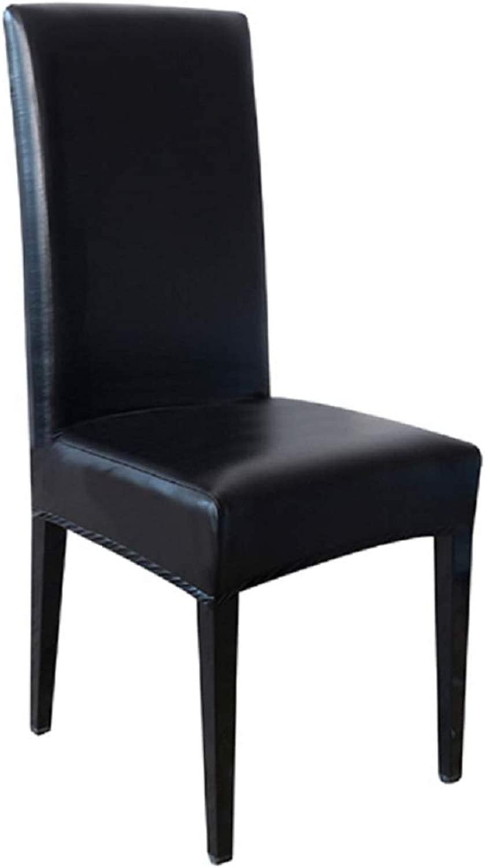 Funda elástica de silla de cuero sintético con respaldo - protector - impermeable - hogar - funda - lavable - cocina elástica - negro - comedor - idea original para regalo de 1 pieza - muebles