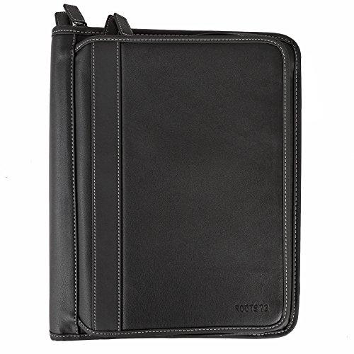 Roots 73 Large Professional Zip Around Executive Padfolio Binder Organizer Black (Padfolio Around Zip)