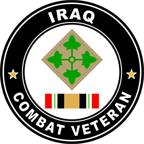 Military Vet Shop US Army 4th Infantry Division Iraq Combat Veteran Operation Iraqi Freedom OIF Window Bumper Sticker Decal 3.8