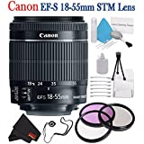 Canon EF-S 18-55mm f/3.5-5.6 IS STM Lens 8114B002 + 58mm 3 Piece Filter Kit + Lens Cap Keeper + Deluxe Starter Kit + Deluxe 3pc Lens Cleaning Kit Bundle