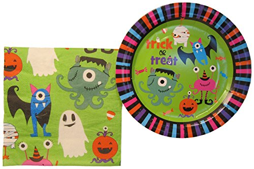 [Halloween Party Plates and Napkins Set 2016- Trick or Treat Theme Disposable Tableware- Party Supplies Pack with Service for 16] (Goblin Costume Wow)