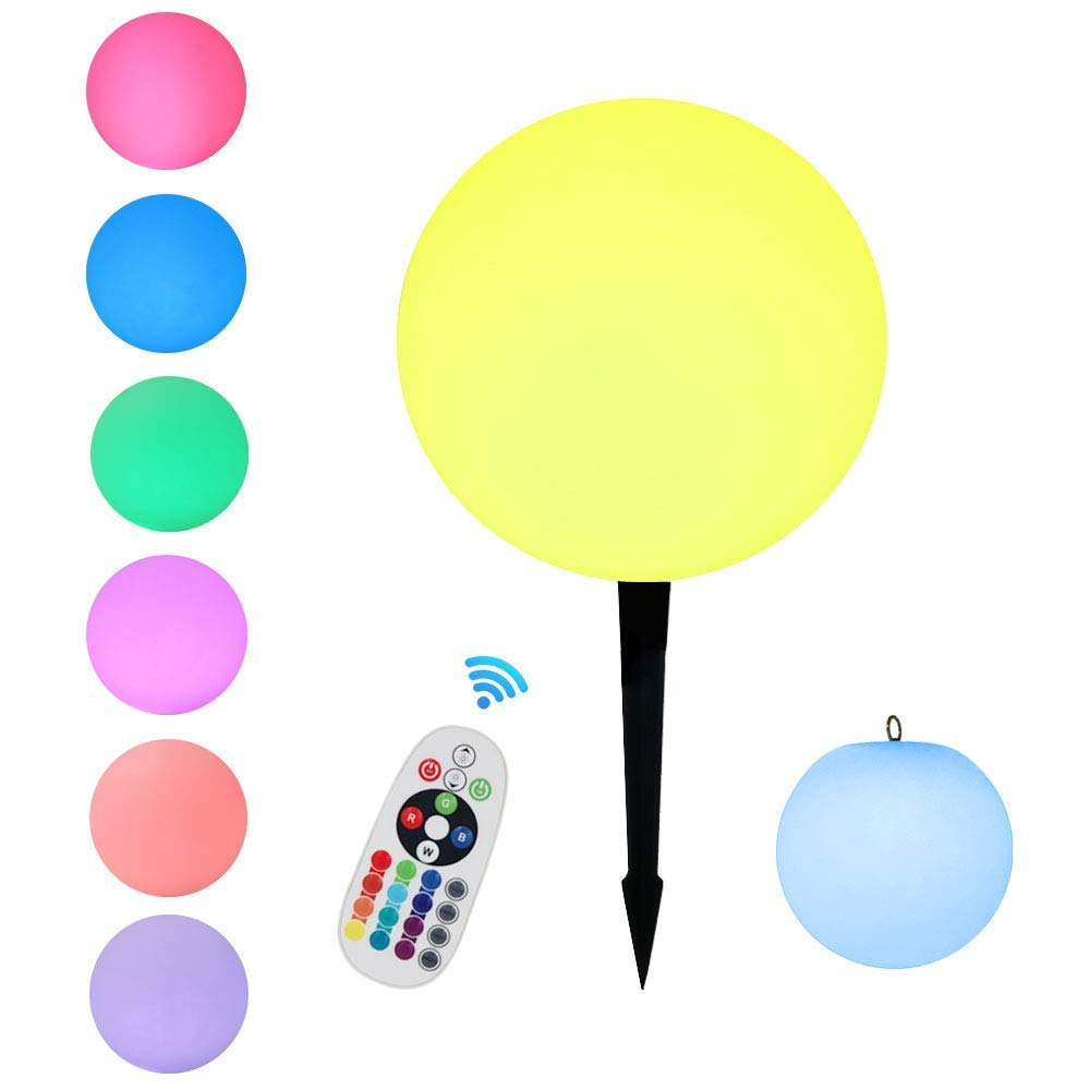 [Borelor] [LED Ball Light, 8-Inch Rechargeable Mood Lights Multicolor Changing Waterproof Indoor/Outdoor Lights for Home Party Decoration] (並行輸入品) B07JFT2CS7