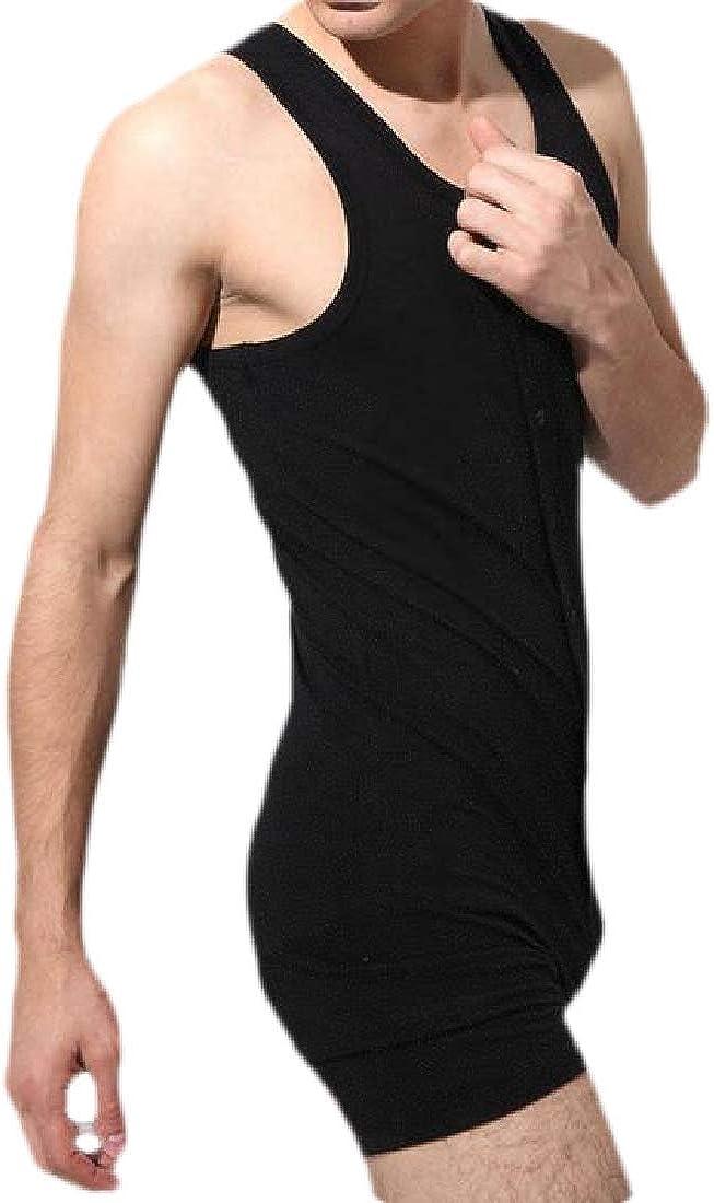 Fubotevic Mens Sleeveless Undershirt Nightwear Button Up Cotton Short Jumpsuits