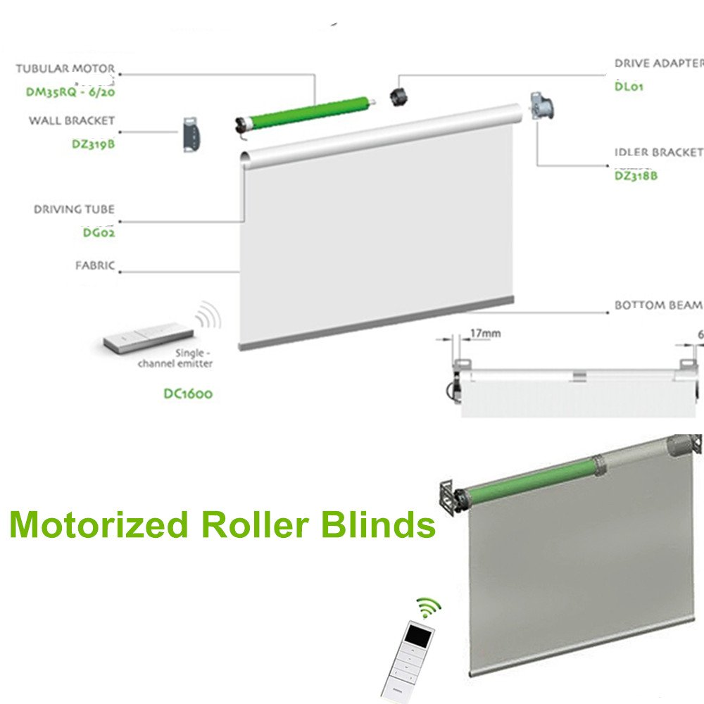 Tubular Roller Shade Motor Kit with Remote Control for Motorized Electric Roller Blind Shades (Wired)