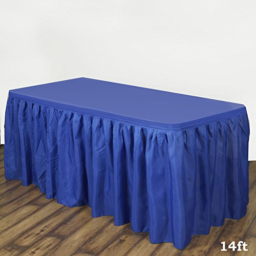 (LinenTablecloth 14 ft. Accordion Pleat Polyester Table Skirt Royal Blue )