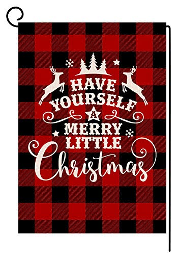 BLKWHT Buffalo Merry Little Christmas Small Garden Flag Vertical Double Sided Red Black Plaids Burlap Yard Outdoor Decor 12.5 x 18 Inches (137286)