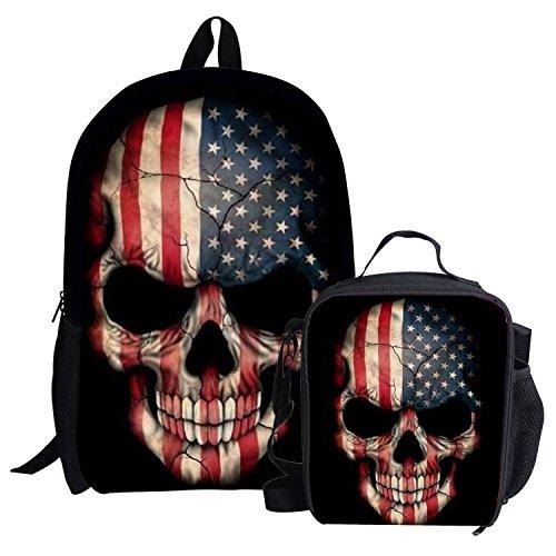 Cartoon Skull Backpack for Boy School Bag for Teens Lunch Box Children Daypack (Pattern Cartoon Casual)