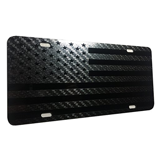 (CustoMonsterDesigns US Flag American Flag License Plate Updated Carbon Fiber Vinyl Max Stealth Tactical S11 )