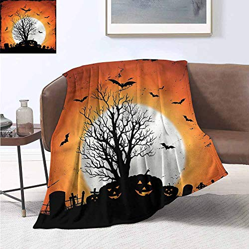 HCCJLCKS Reversible Blanket Vintage Halloween Bats Pumpkins Cozy for Couch Sofa Bed Beach Travel W70 xL93 Traveling,Hiking,Camping,Full -