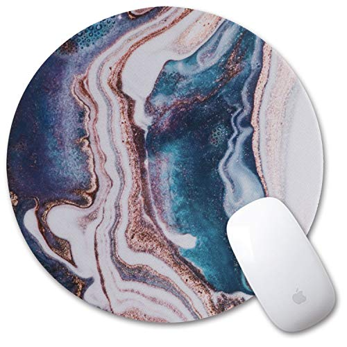 iLeadon Gaming Mouse Pad, Anti Slip Natural Rubber Mouse Mat for Desktops, Computer, PC and Laptops, Customized Round Mousepad for Working Or Game, Swirl Marble