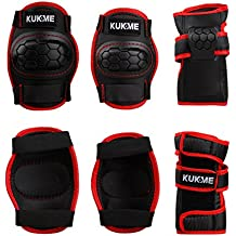 KUKOME Child Kids Roller Knee Pads and Elbow Pads with Wrist Guards Protective Gear Set for Biking, Riding, Cycling,Scooter, Skateboard, Bicycle, inline skatings,Football, Volleyball, BMX
