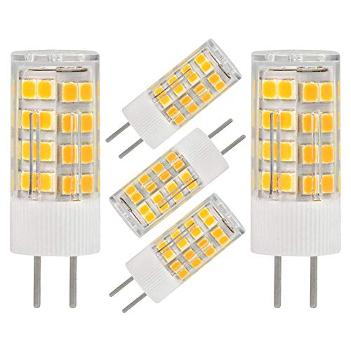 b GY6.35 Bi-pin Base 5W AC/DC 12V Warm White 2700K-3000K G6.35/GY6.35 Base T4 JC Type LED Halogen Incandescent 40W Replacement Bulb Not-Dimmable (5-Pack) ()
