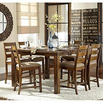 Homelegance Ronan 7 Piece Counter Height Table Set In Burnished Rustic