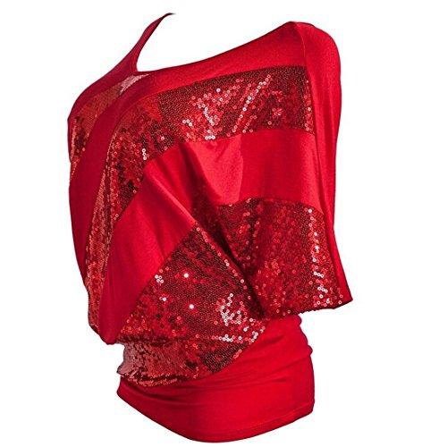 QIYUN.Z Las Camisetas Camiseta Del Verano Del T-Shirts Manga Del Batwing De La Blusa Del Cequi De Las Mujeres Rojo