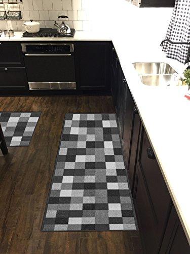 Custom Size Grey Black Ivory Tiles Non-Slip Rubber Backed Hallway Carpet Runner Rug | 31-inch x 23-feet