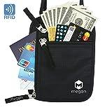 Travel Neck Wallet & Passport Holder w/ RFID Blocking - Premium Traveling Pouch (Black)