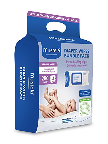 Mustela Diaper Wipes Bundle Pack, 4 pack