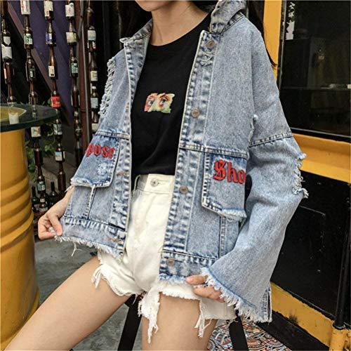 Elegante Giaccone Style Manica Forti Denim Confortevole Taglie Festa Ragazze Donna Jeans Casual Giacca Fidanzato Strappato Stampate Outerwear Digitale Lunga Bavero Moda Blau Cappotto Jacket nxfXO8qwR