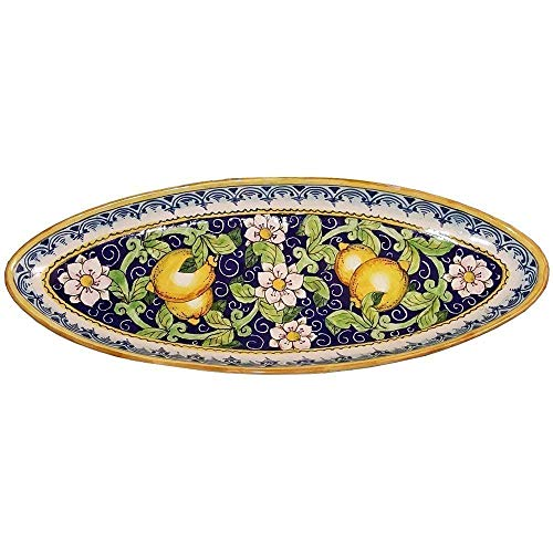 CERAMICHE D'ARTE PARRINI - Italian Ceramic Serving Tray Bowl Decorated Lemons Art Pottery Painted Made in ITALY Tuscan