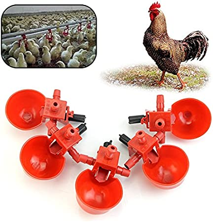 10 Poultry Water Drinking Cups Chicken Hen Automatic Drinker /& Tube Hose Fitting