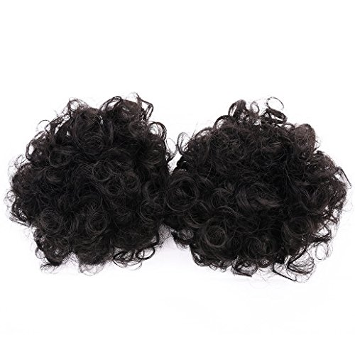 Miss Rola Synthetic Hair Bun Extension Donut Chignon Hair Hairpieces Wig Updo Hair Bun,Clip In Hair Extensions,Afro Kinky Curly For African American Black Women (Small 2pieces)