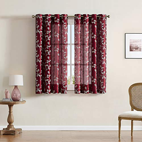 LALA & WONZ Faux Silk Semi Sheer Curtains for Bedroom, Floral Embroidered Grommet Sheer Window Curtains for Living Room, 52 x 63 Inch Long, Burgundy Red, 2 Panels.