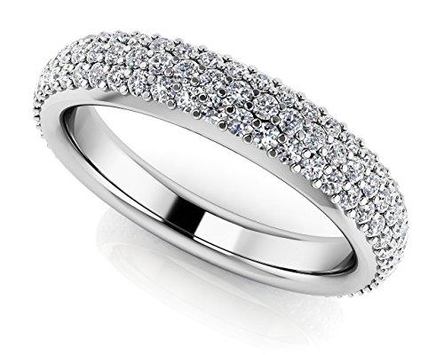 Or blanc 14K Triple rangée avec diamant éternité
