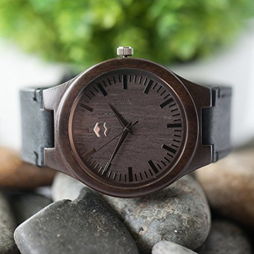 Quantum MMNT Men's Dark Wooden Watch w/Genuine Brown Leather Strap and Japanese Analog Miyota Quartz Movement by MMNT Watches (Image #4)