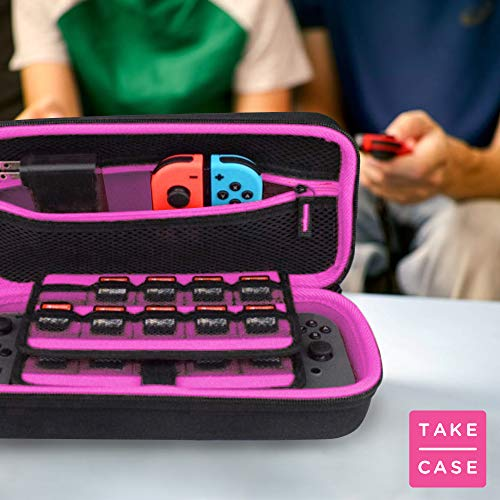 TAKECASE Carrying Case For Nintendo Switch - Protective Hard Case - Includes Accessories Pouch That Fits Extra Joy Cons, 19 Game Cards, Adapter/Charger and Cables - Pink/Black