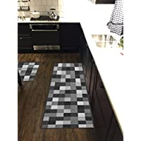 Custom Size Grey Black Ivory Tiles Non-Slip Rubber Backed Hallway Carpet Runner Rug | 31-inch x 19-feet