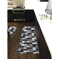Custom Size Grey Black Ivory Tiles Non-Slip Rubber Backed Hallway Carpet Runner Rug | 31-inch x 19-feet