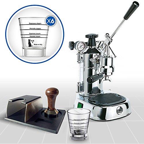 LaGondola Bundle - Máquina Caffe Espresso cromado la Pavoni Professional con manómetro y prensa de Metal Motta Soporte portafiltro y juego 6 simpatiche ...
