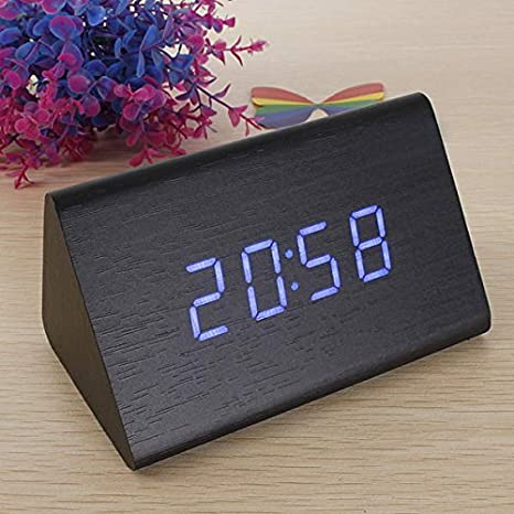 EsportsMJJ Triangular De Madera Led Alarma Reloj Termómetro Digital De Madera-Negro + Azul: Amazon.es: Hogar