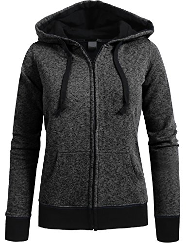 NE PEOPLE Womens Long Sleeve Light Heathered Fleece Jacket Hoodie-CHARCOAL-L