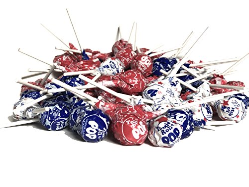 Rolls Tootsie Flag (Patriotic Red, White, and Blue Tootsie Pops Bulk Parade Candy, 4 Pounds (Approximately 100 Pops))