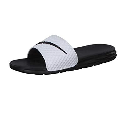 42ffbaf81 Nike Benassi Soloarsoft Men s Sandals White Black 705474-100 (8 M ...