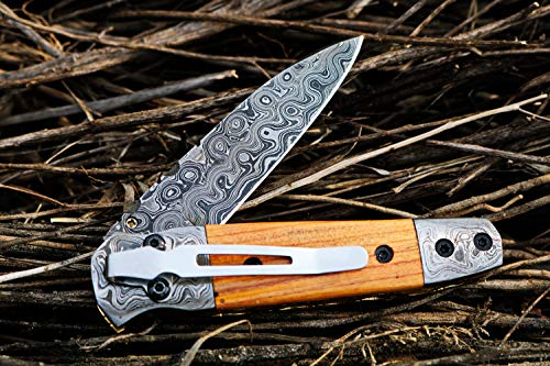 BMK-416-P Dugite 7.5 Long 3.5 Blade 7 Ounce Damascus Pocket Knife Handmade Damascus Pocket Folding Knife with Pocket Clip Leather Cover Hand Made Word Class Knives