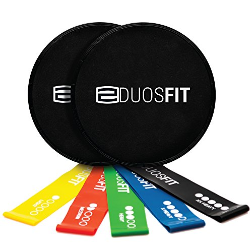 Duos Fit Athletics Core Sliders 2 Pack with Resistance Bands Set - Slide Gliders Discs for Strength Fitness Workout - 5 Exercise Coordination Loops - Light to Extra Hard by Duos Fit Athletics