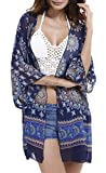 Spmor Women's Chiffon Boho Kimono Cardigan Beach Cover Shawl,one Size,Sapphire Blue
