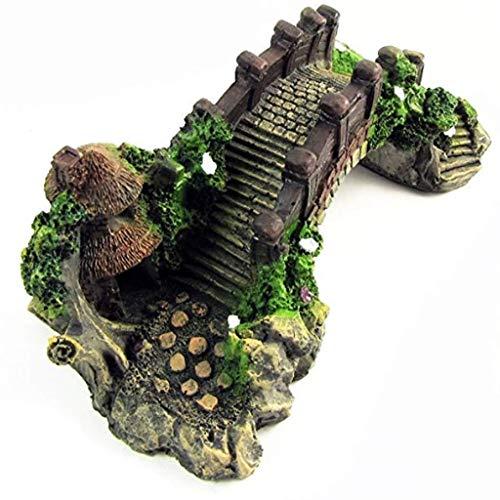 Sheng Aquarium Decoration Aquarium Decorative Resin Rockery Arch Bridge Design, Underwater Environment, Aquarius, Fish Vest, Garden (Wood Grain Color)
