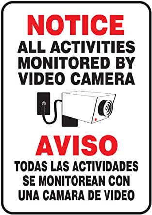 "Accuform Signs SBMASE809VS Adhesive Vinyl Spanish Bilingual Sign, Legend ""NOTICE ALL ACTIVITIES MONITORED BY VIDEO CAMERA/AVISO TODAS LAS ACTIVIDADES SE MONITOREAN CON UNA CAMARA DE VIDEO"" with Graphic, 14"" Length x 10"" Width x 0.004"" Thickness, Red/Black on White"
