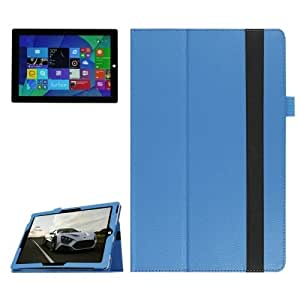 Horizontal Flip Litchi Texture Leather Case with Holder for Microsoft Surface 3 (Blue)