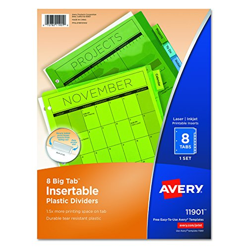 Avery Big Tab Insertable Plastic Dividers, 8-Tab Set, Multicolor (11901) (Books Divider Subject)