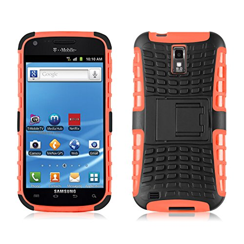 Galaxy S2 T989 Case, JAMMYLIZARD ALLIGATOR Heavy Duty Double Protection Rugged Back Cover for Samsung Galaxy S2 T989, Orange