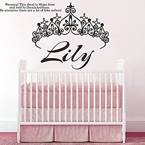 Amazon.com: Princess Crown Wall Decals Custom Personalized Name ...